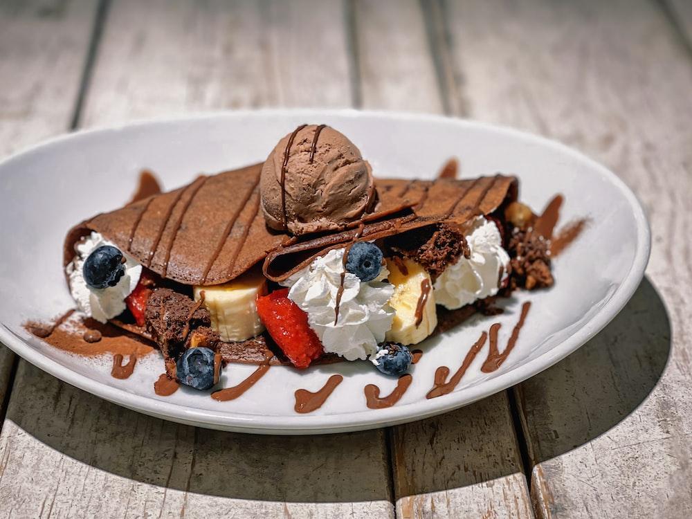 ice cream on white ceramic plate