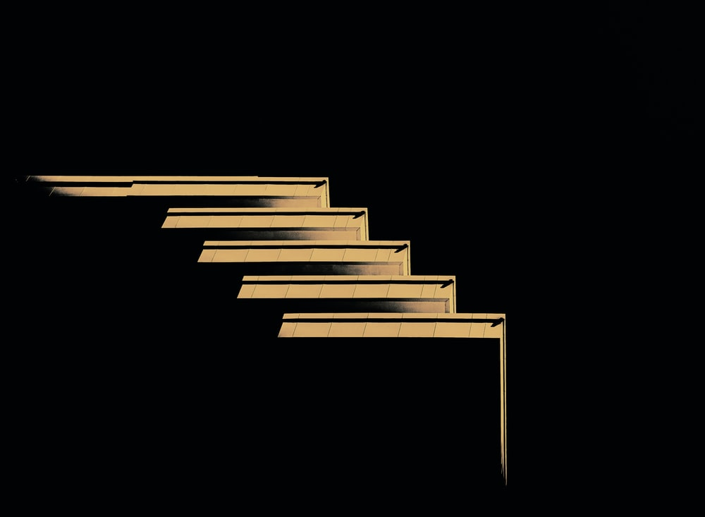 white and black stairs illustration