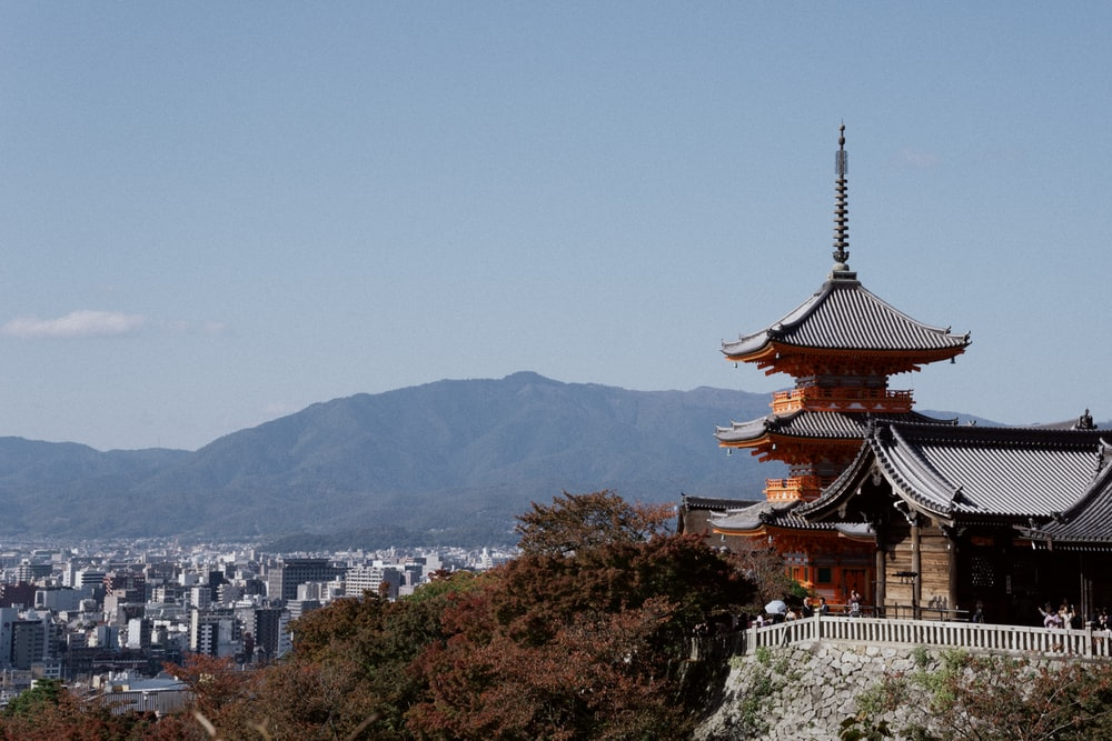 brown and white temple on top of mountain during daytime