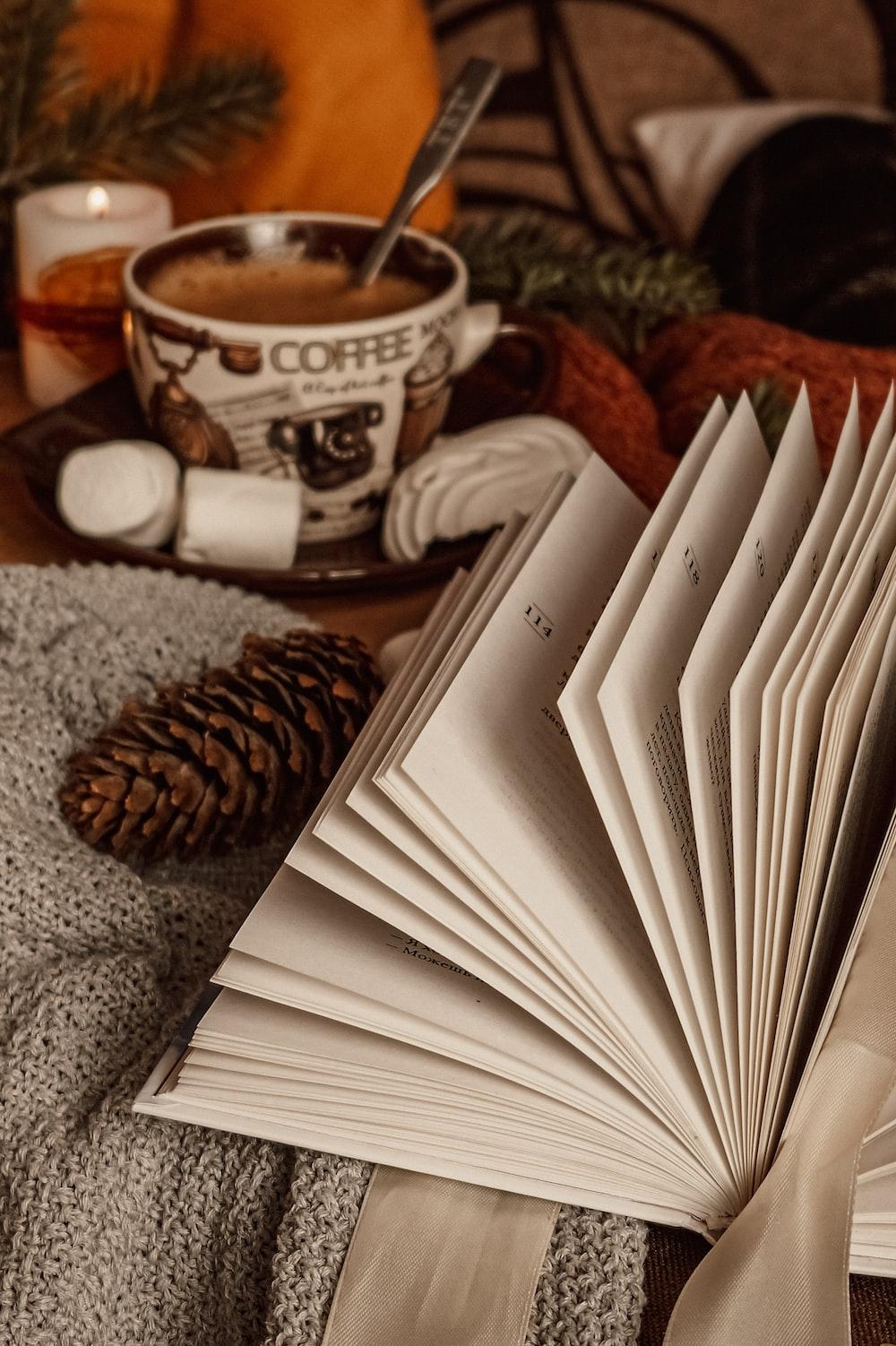 white book on brown and white ceramic mug