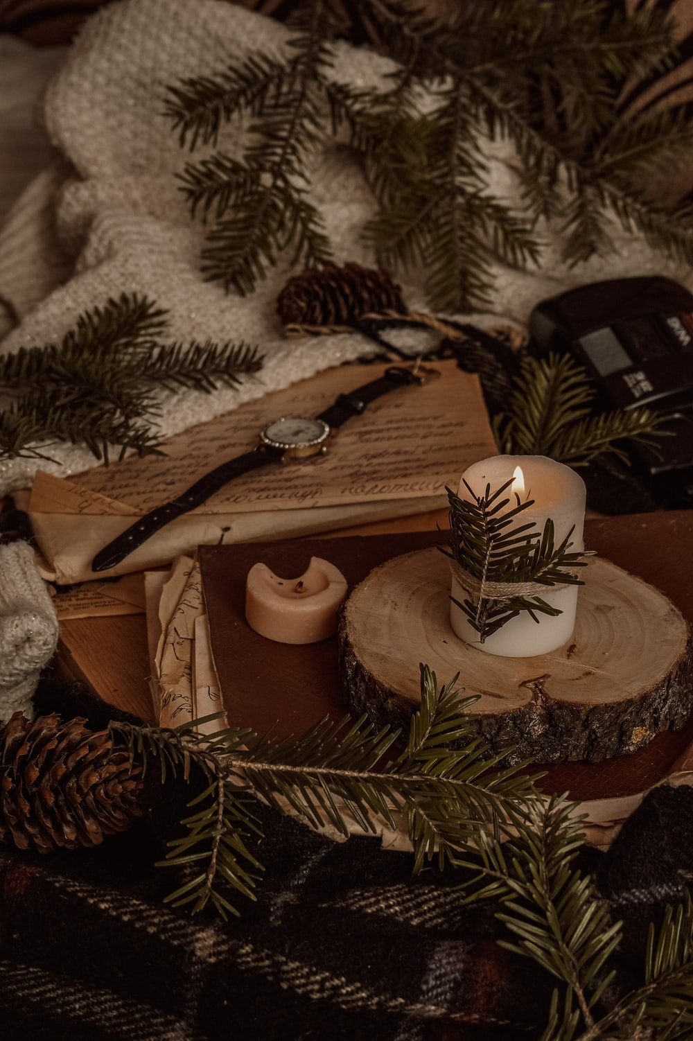 brown and white pine cone and brown wooden cross