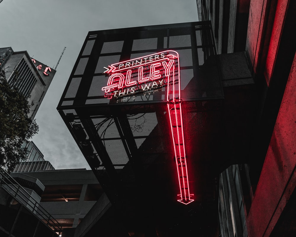 red and black led signage