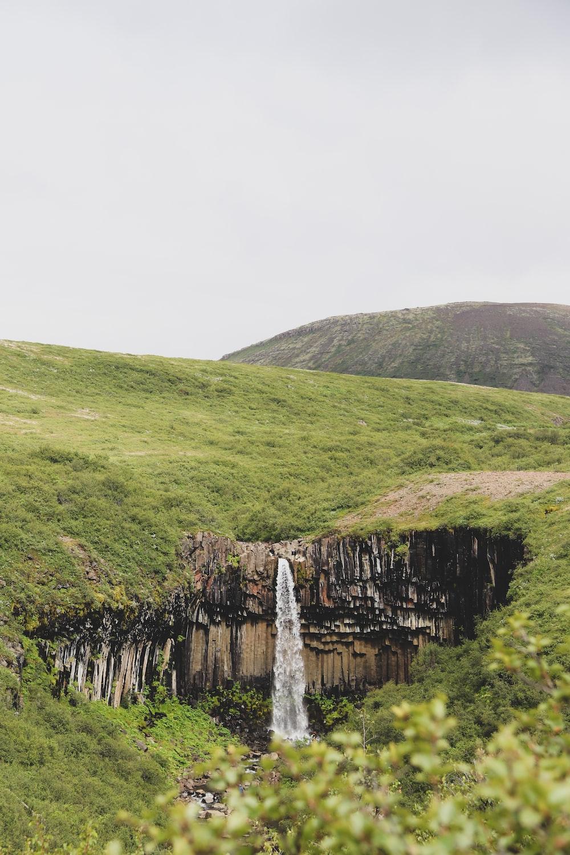 green grass on rocky mountain