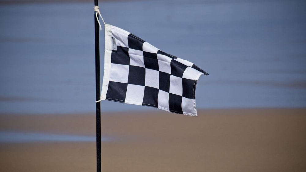 blue and white striped flag