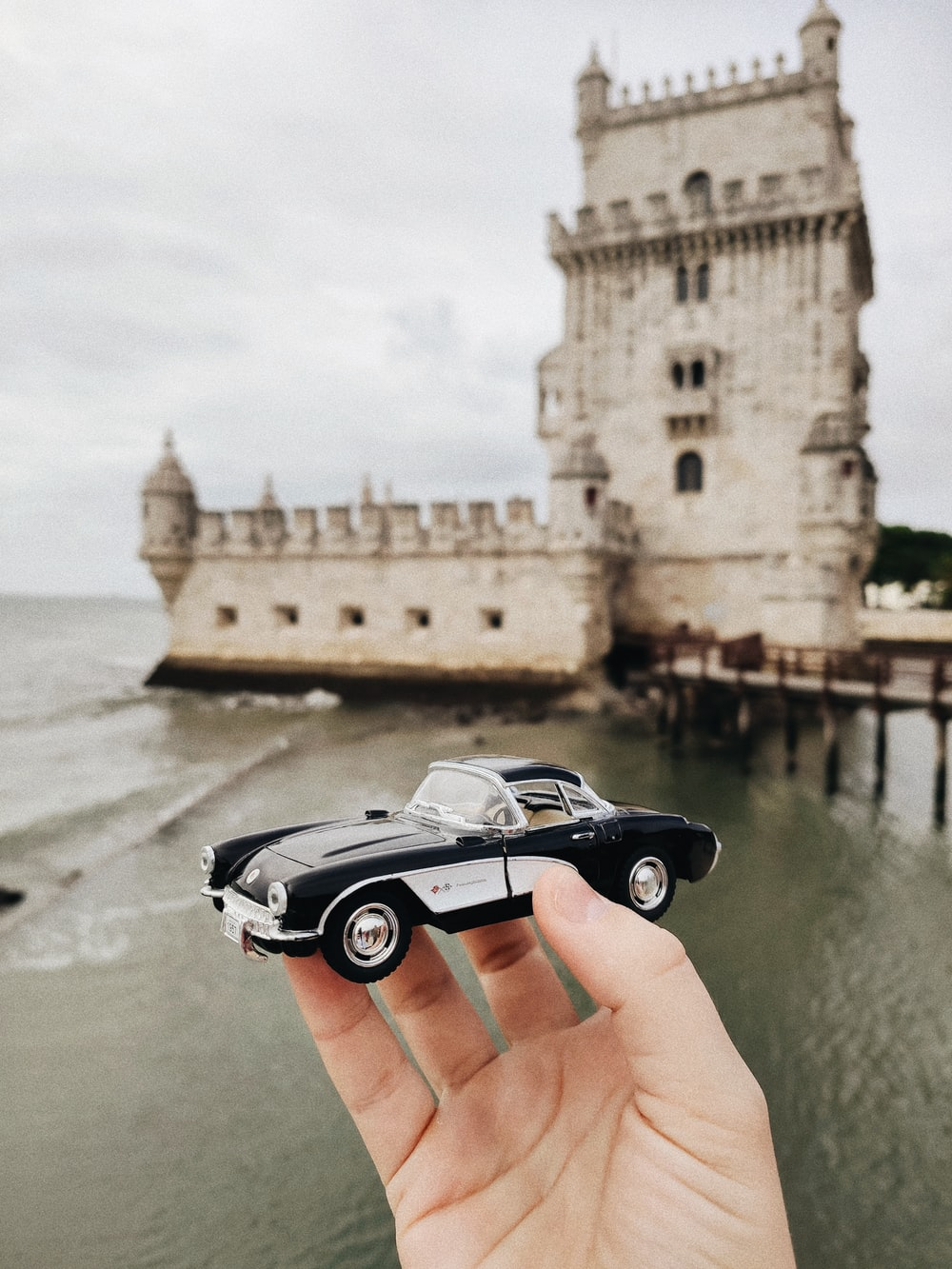 black and white car on water