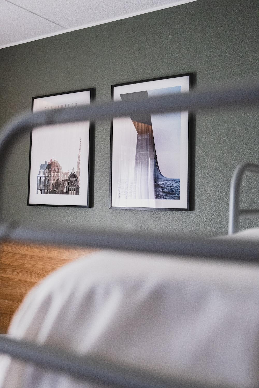 black framed photo on wall