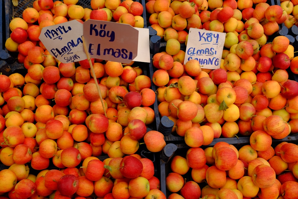 orange and red apple fruits