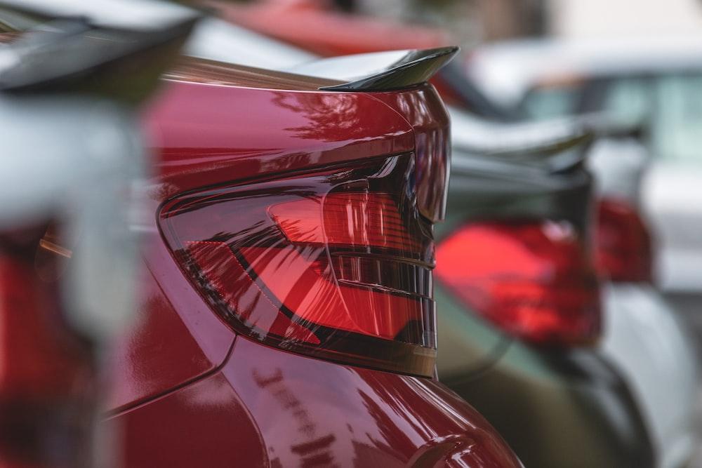 red car in tilt shift lens