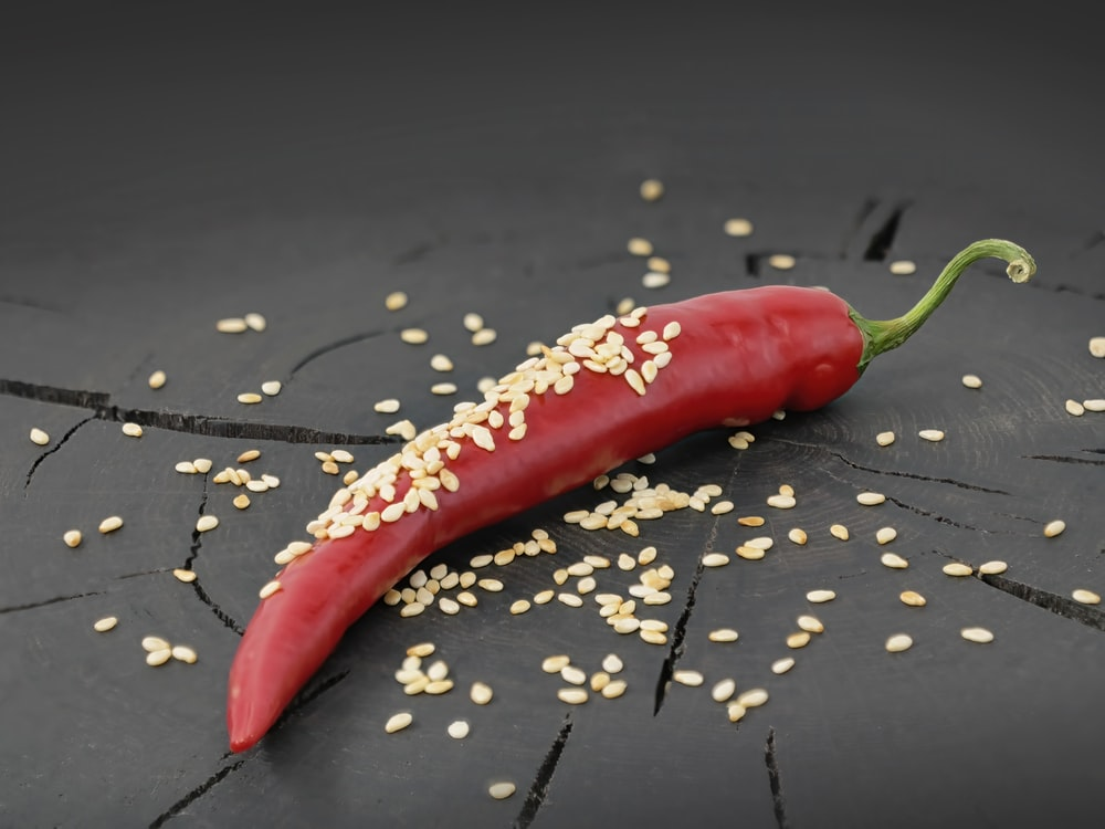 red chili pepper on black and white floral textile