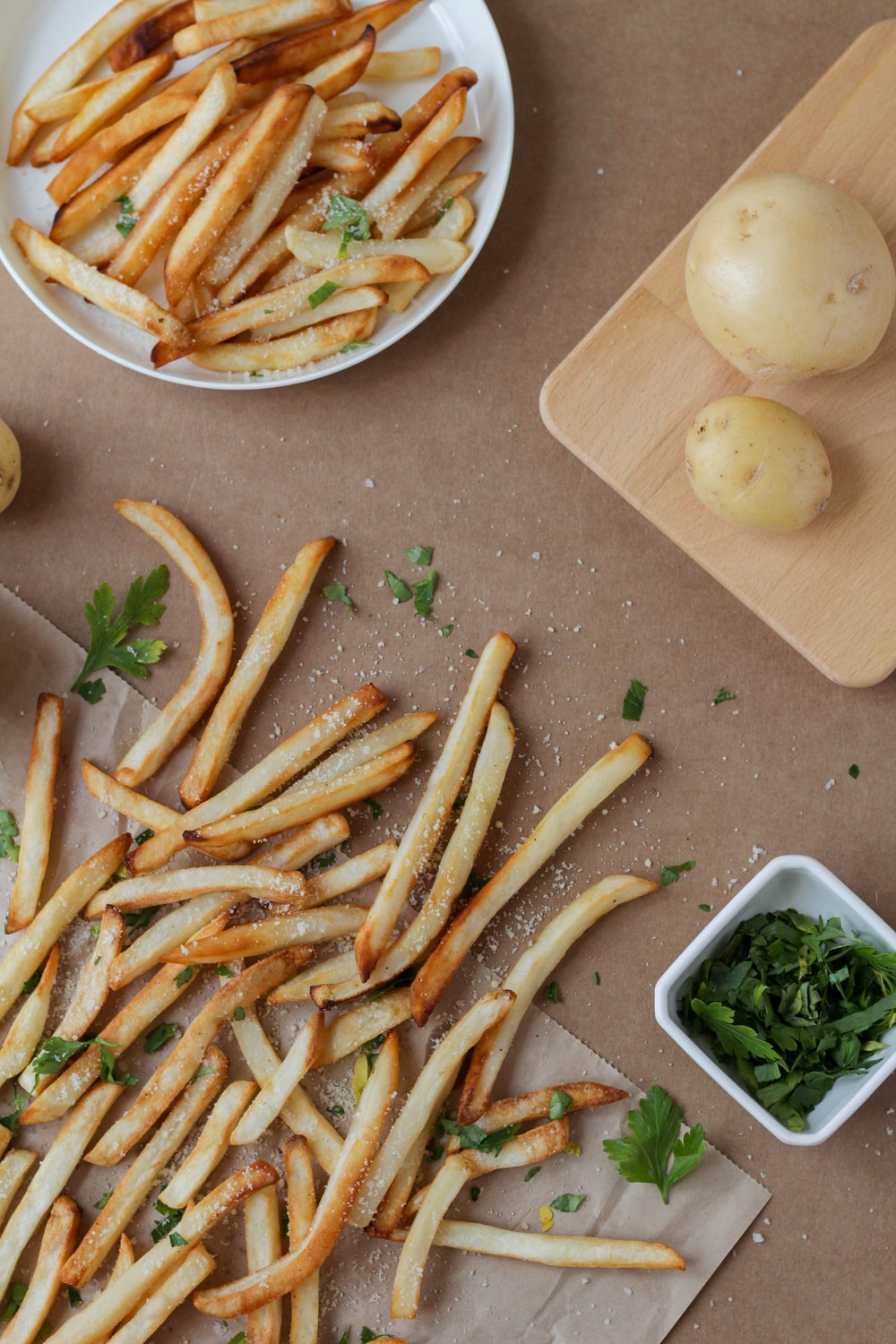 fried fries on white ceramic plate