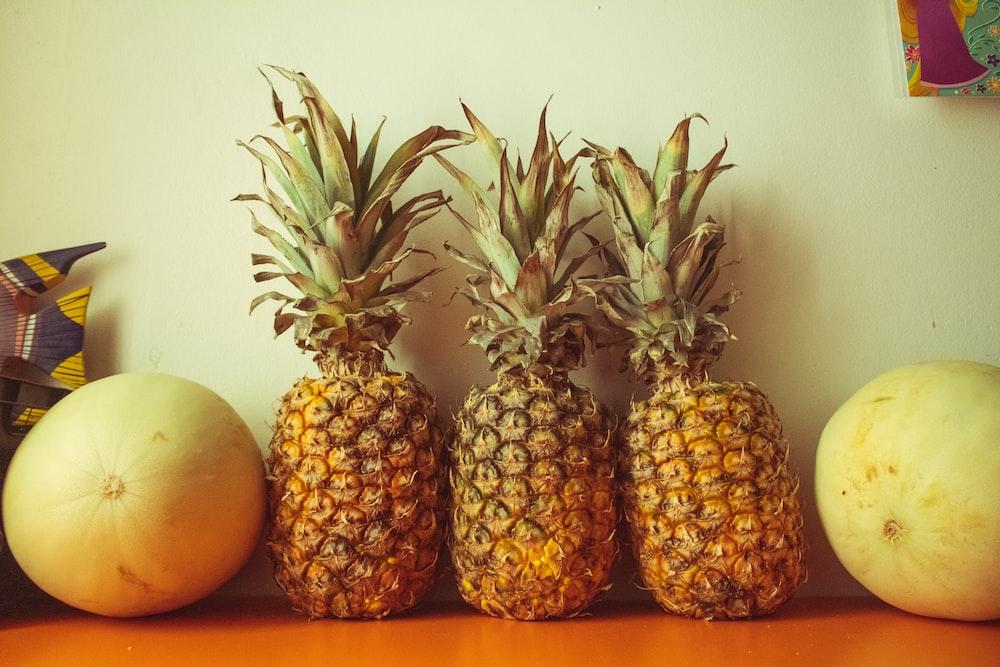 pineapple fruit and orange fruit
