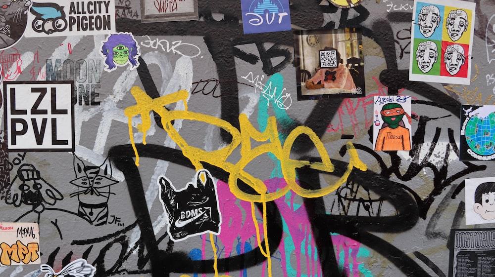 purple and black graffiti art