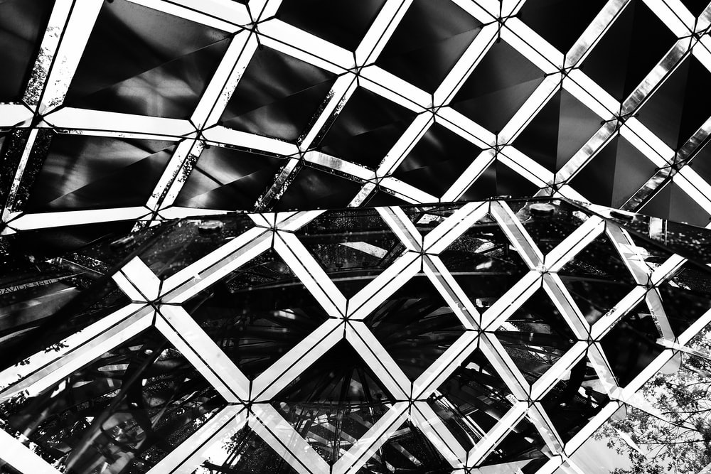 black and white photo of metal frame