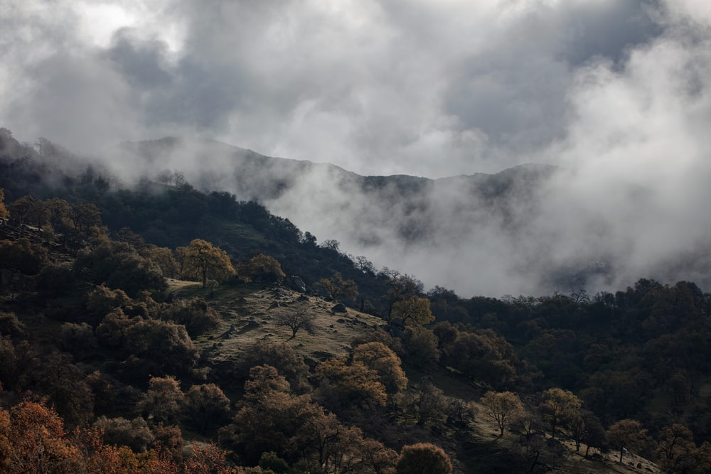brown and green mountain under white clouds