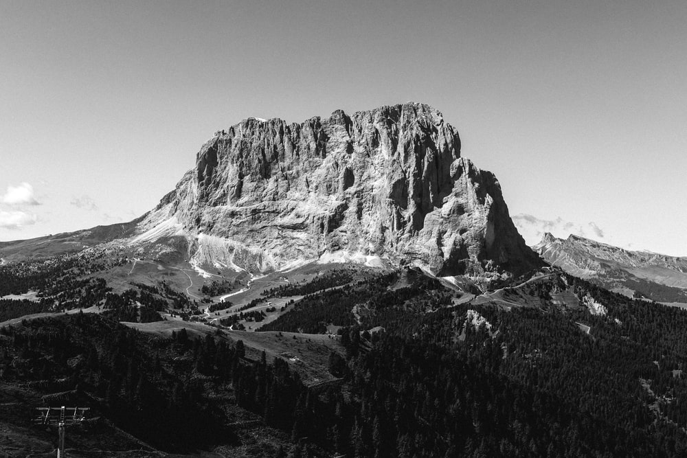 grayscale photo of rocky mountain