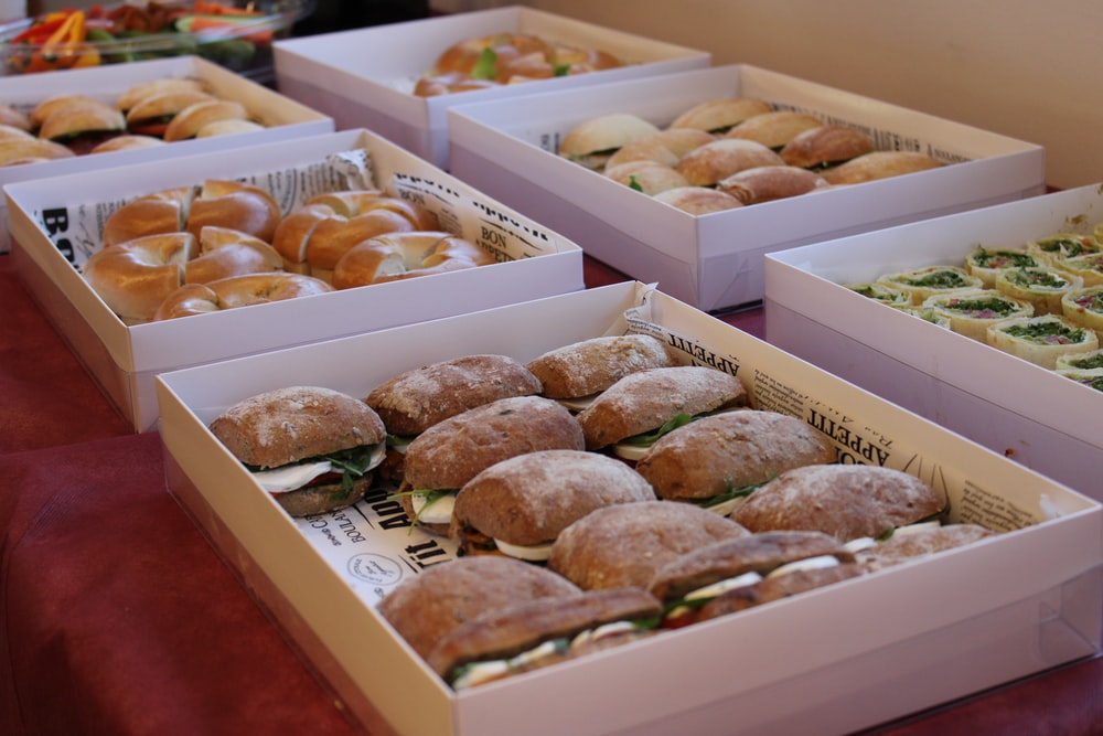 brown round bread on white box
