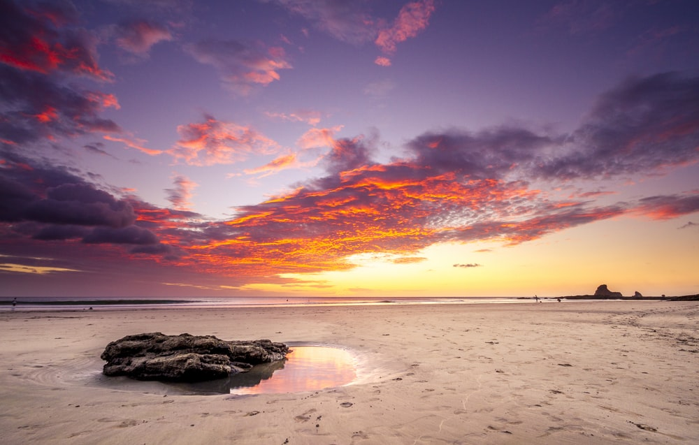 brown sand beach during sunset