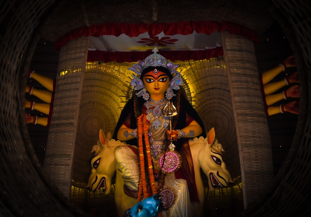 hindu deity and lion painting
