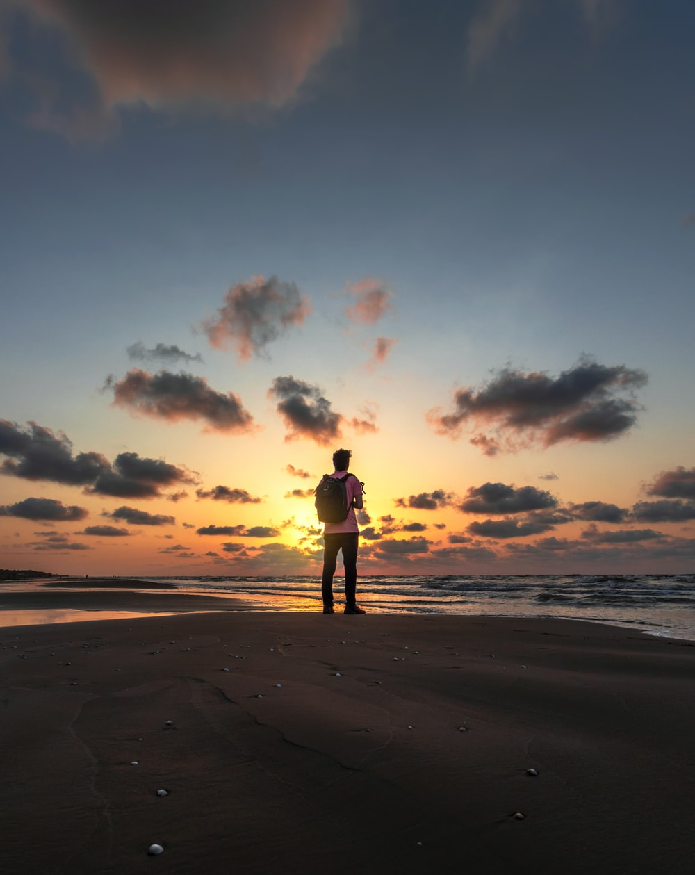 silhouette of person standing on beach during sunset