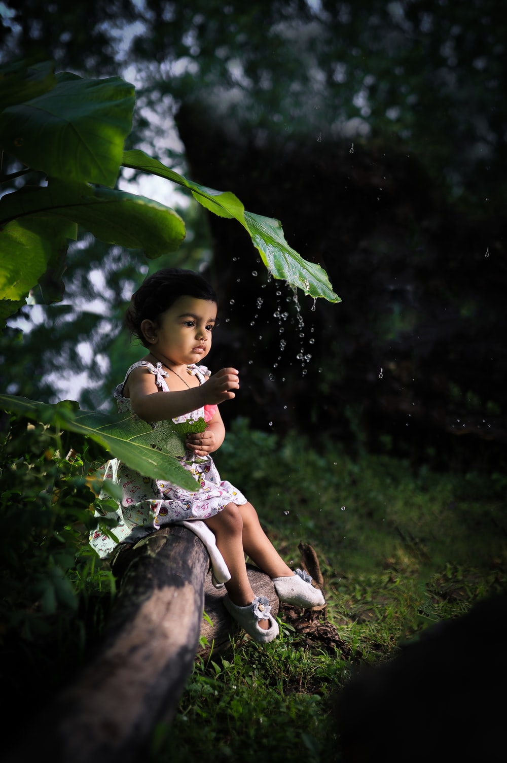 girl in white and green dress sitting on tree branch during daytime