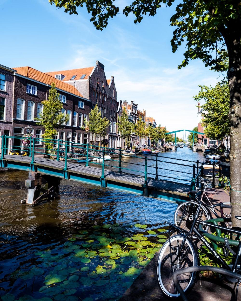 bicycle parked beside river near bridge during daytime
