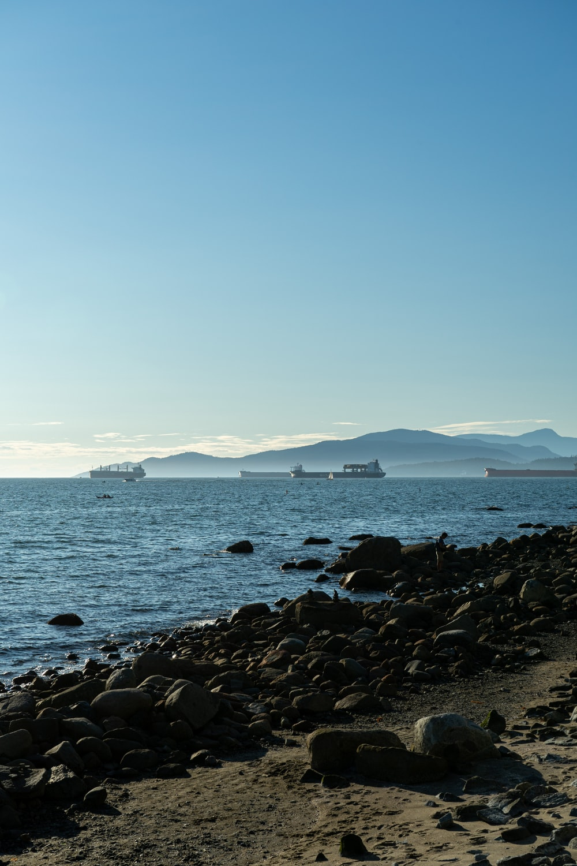 black rocks on sea shore during daytime