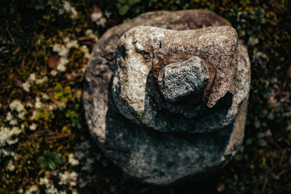 gray stone with hole on ground