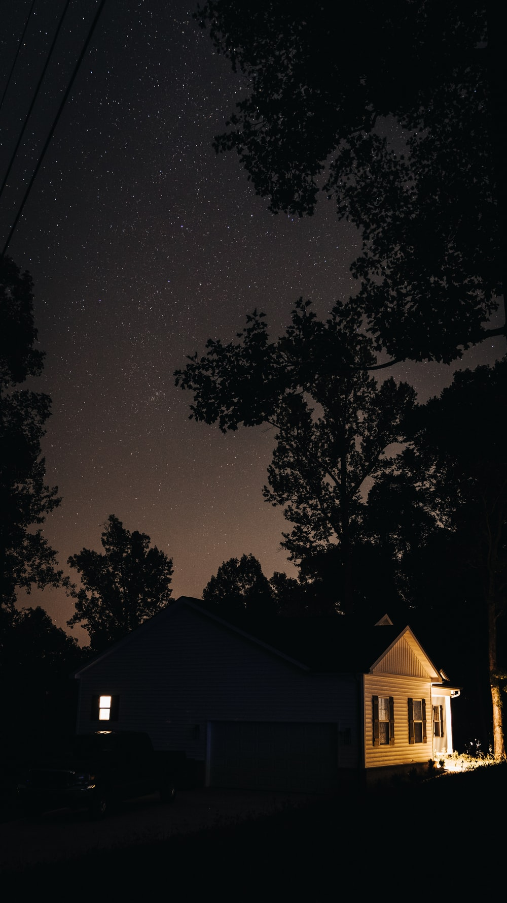 silhouette of trees and house during night time