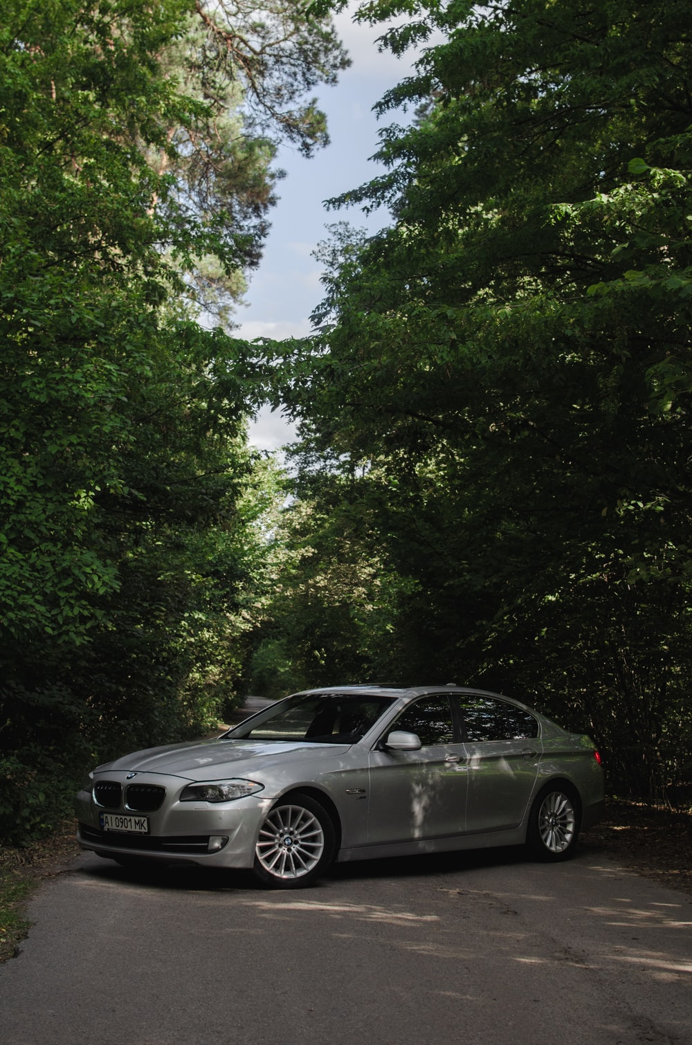silver bmw m 3 coupe parked on forest during daytime
