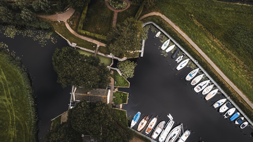 aerial view of boats on dock during daytime