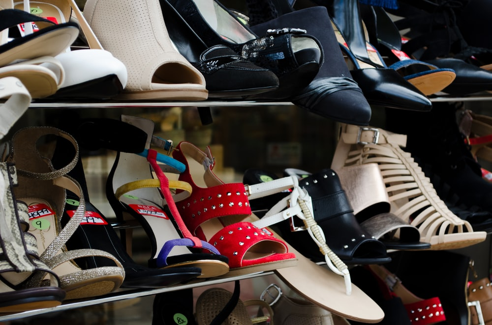 black and white leather peep toe heeled shoes