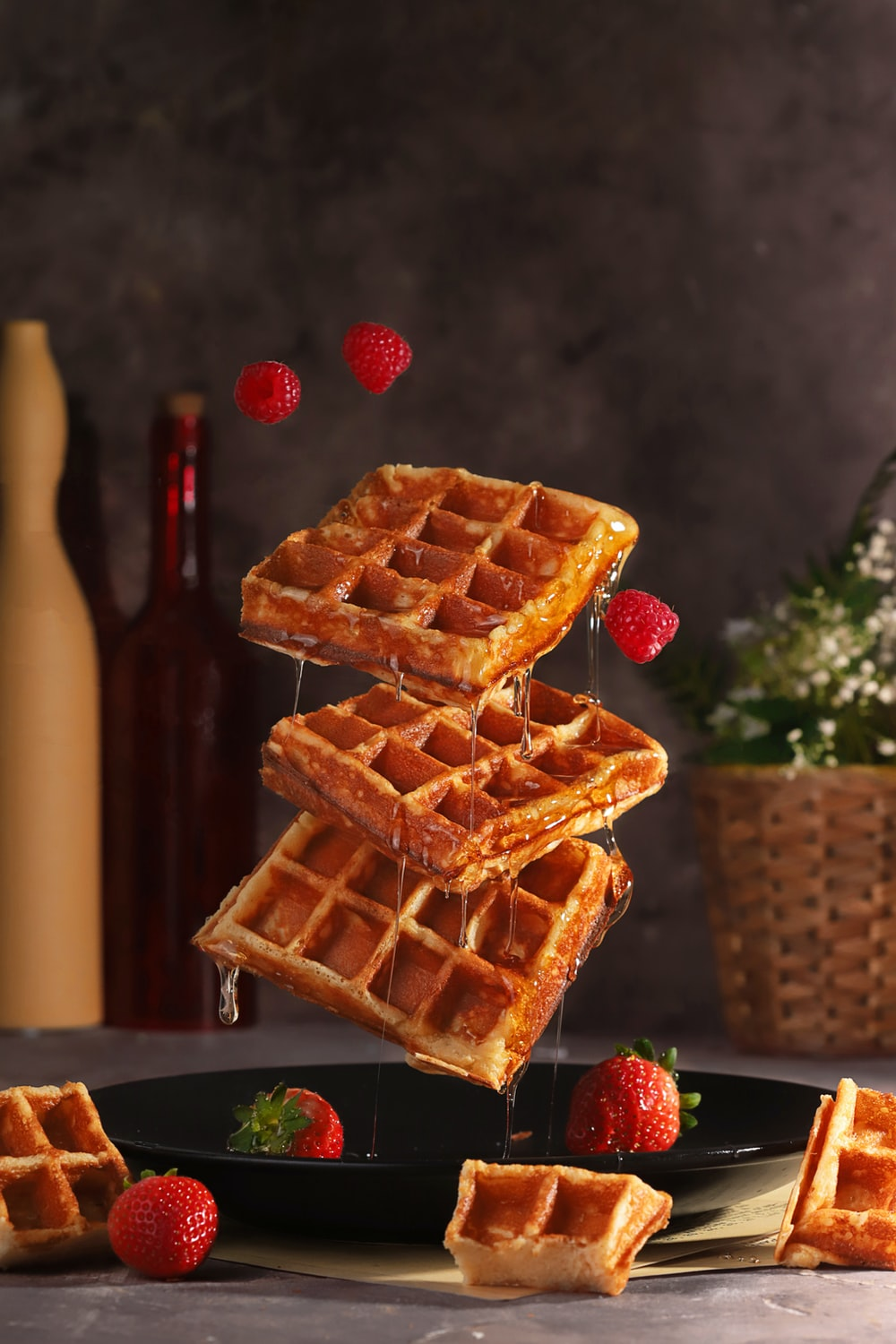 brown and red waffle on brown wooden table