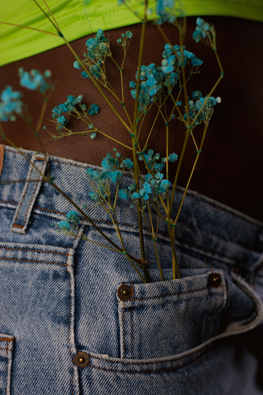 blue denim jeans with green plant