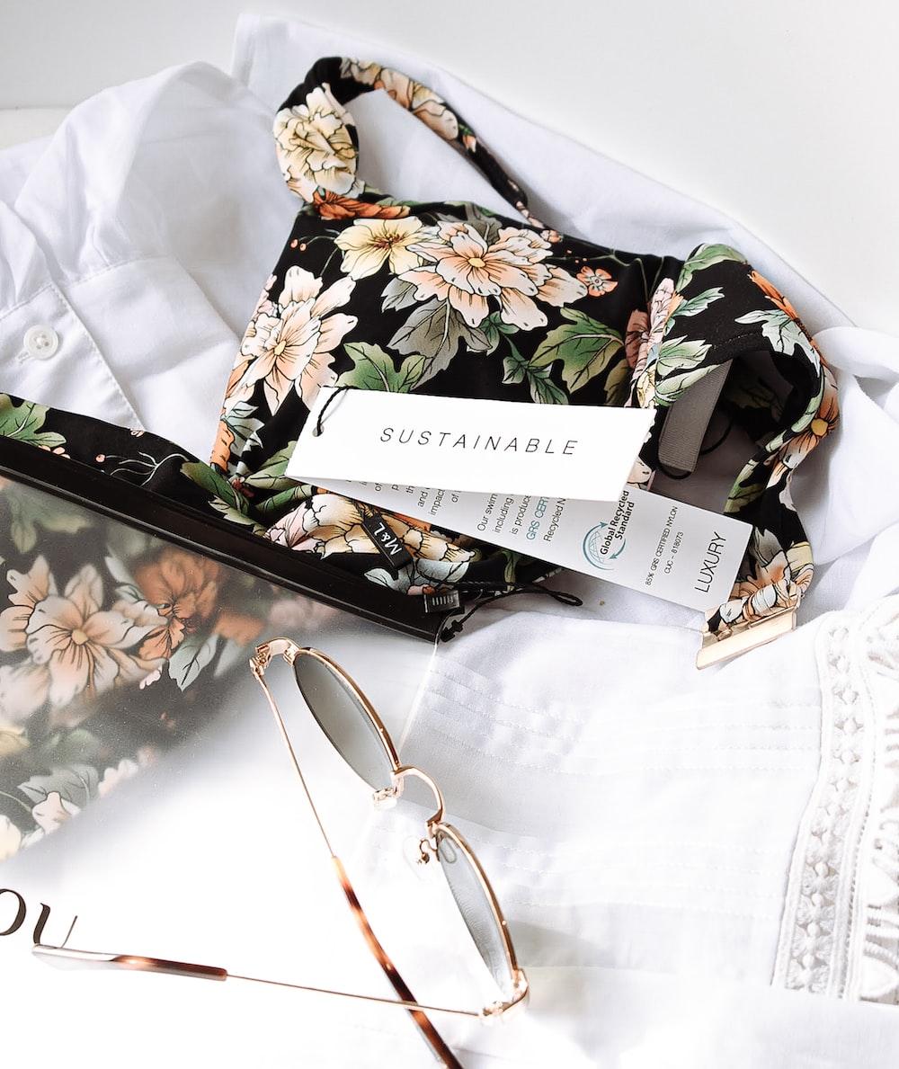 black and white floral handbag