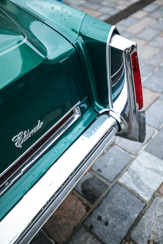 green and silver car door