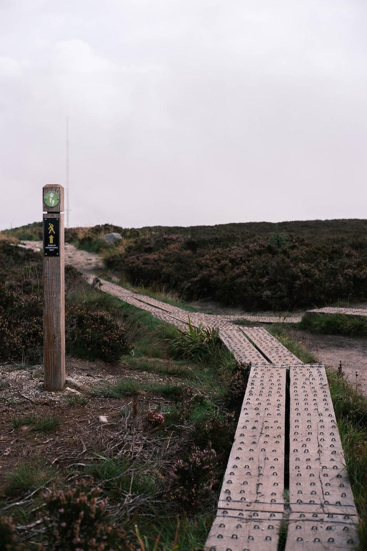 brown wooden train rail near green grass field during daytime