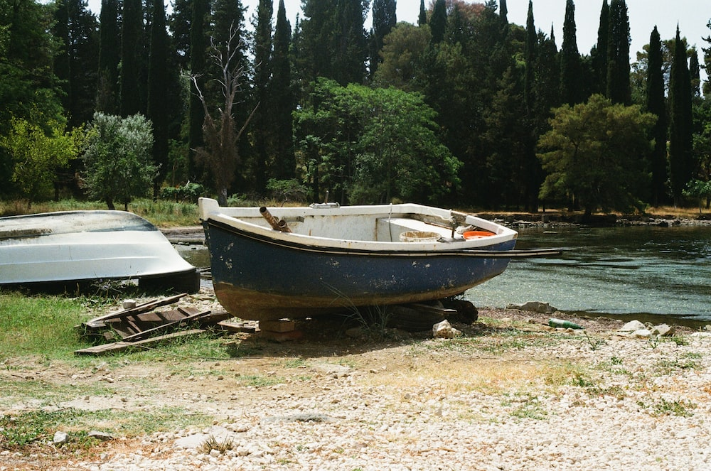 white and brown boat on brown soil near green trees during daytime
