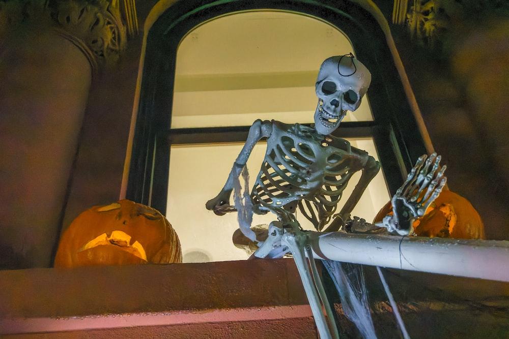 white skull on orange jack o lantern