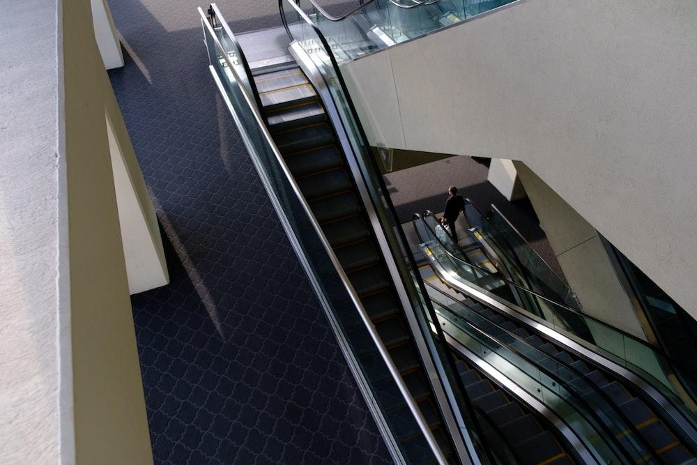 stainless steel escalator inside room