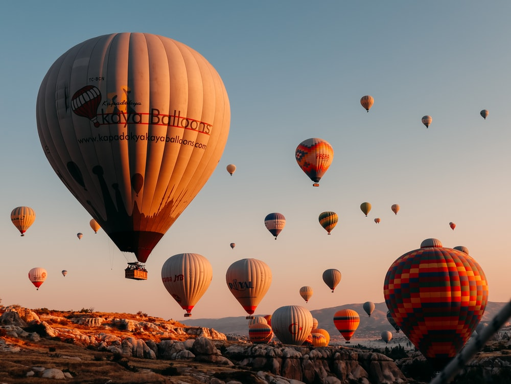 hot air balloons on brown field during daytime
