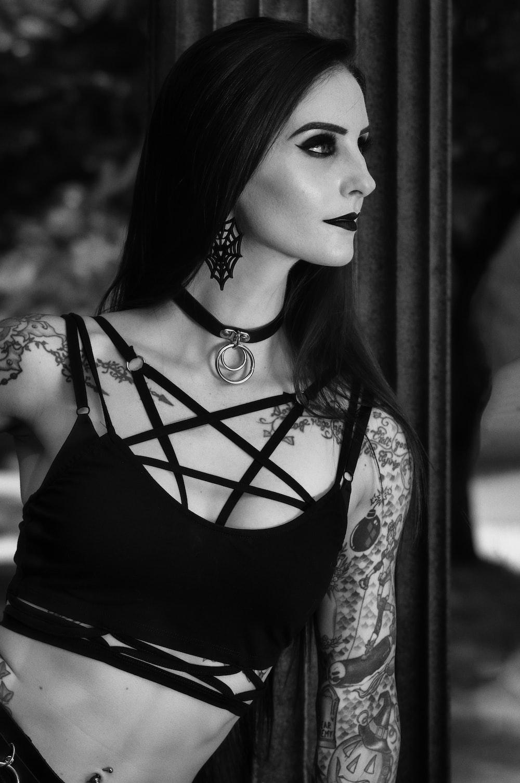 woman in black tank top