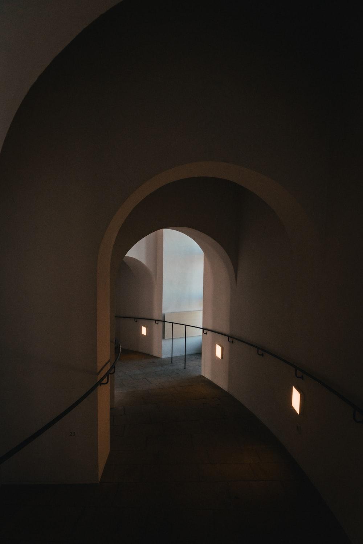 brown and white concrete tunnel