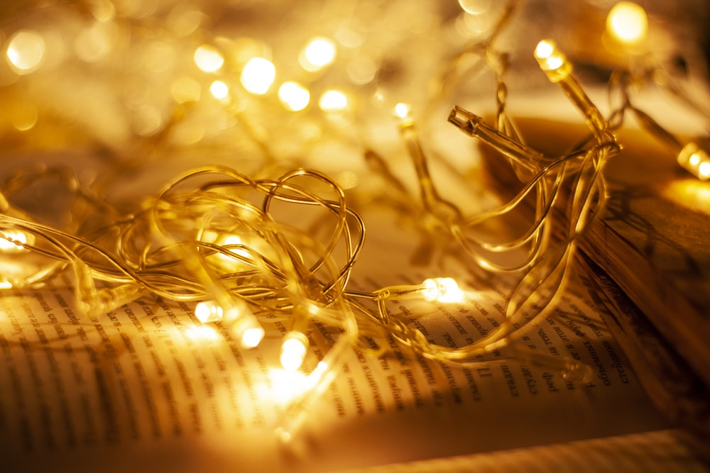 gold string lights on book page