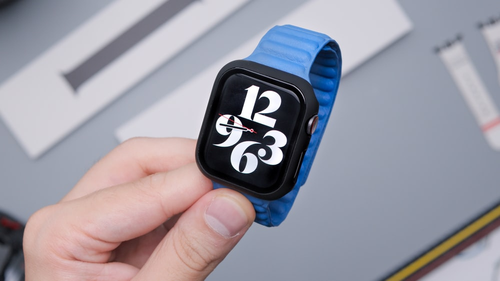 blue and black mickey mouse print smart watch