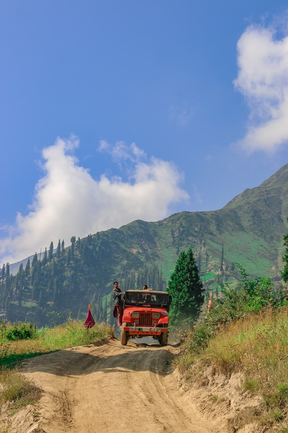red truck on green grass field near mountain under blue sky during daytime