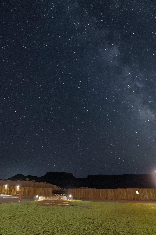 brown field under starry night