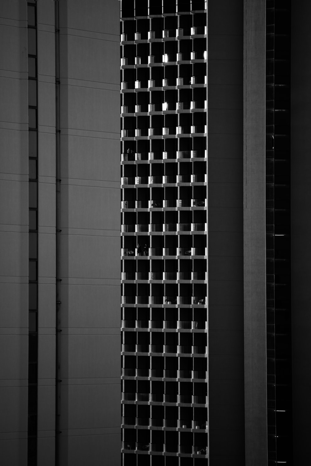 black and white glass walled building