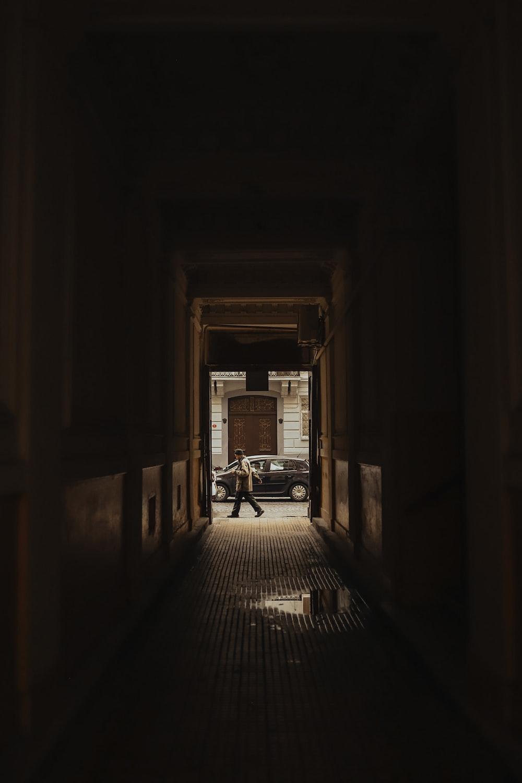 brown wooden door in a room