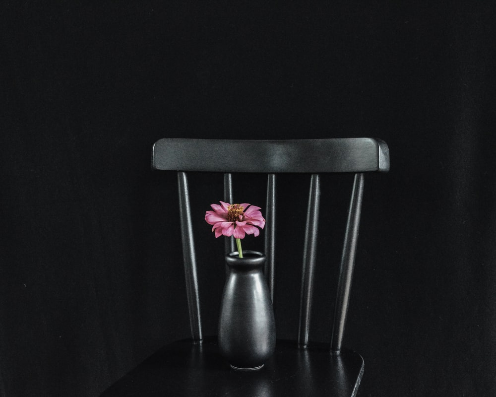 red and yellow flower on black chair