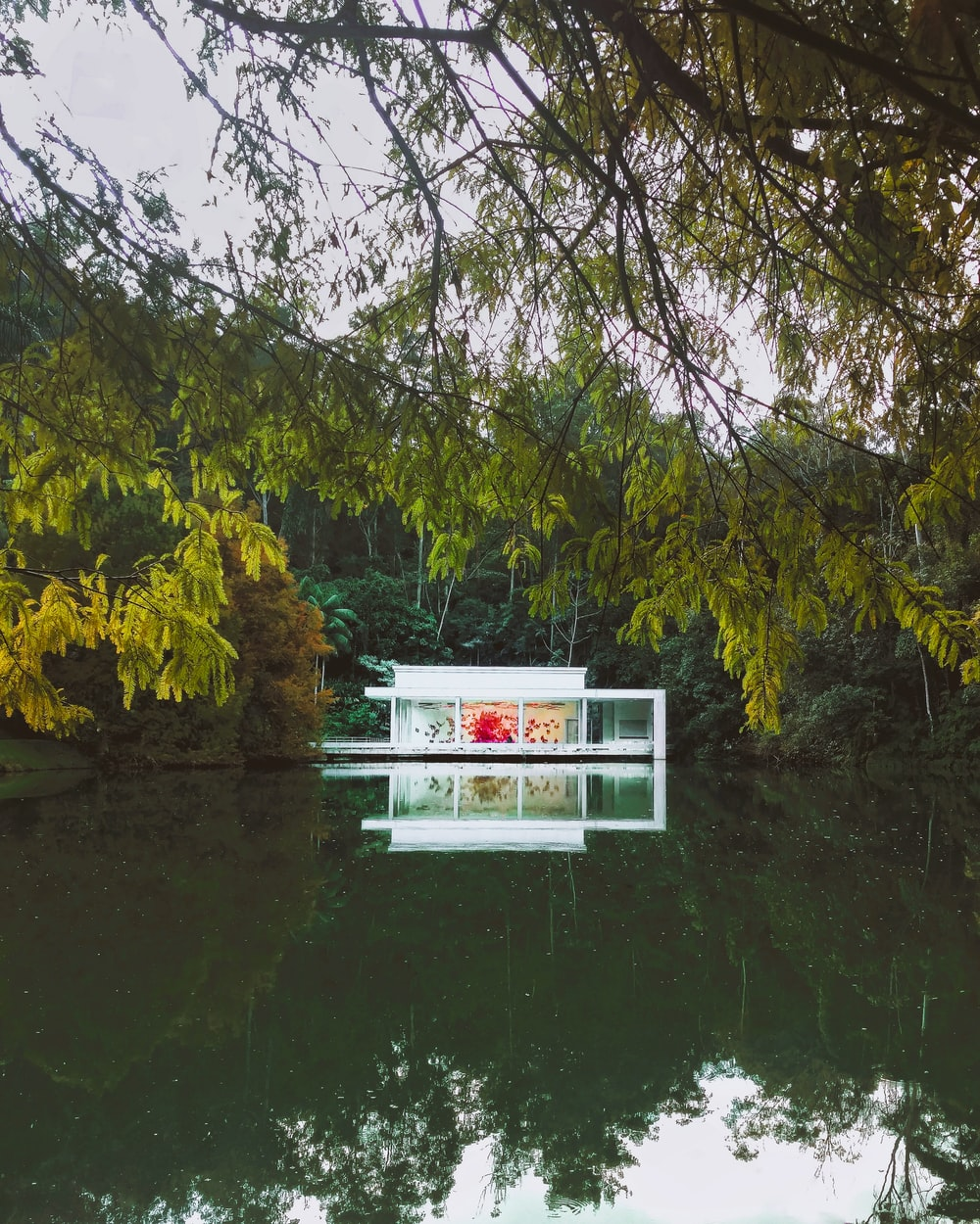 white and red wooden house near green trees and river during daytime